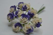 LILAC WHITE ROSES (1.2cm) Mulberry Paper Roses
